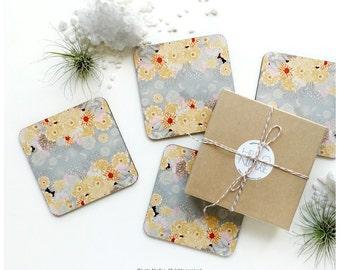 Coaster Set of 4 Creme De La Creme by Iveta Abolina, Floral Cork Coasters, Abstract Floral Coaster Set, Illustration Coasters I23