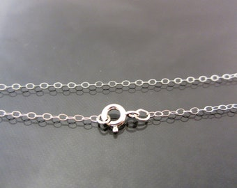 """Solid Sterling Silver Petite Flat Cable Chain Necklace - 14""""/16""""/18""""/20"""""""