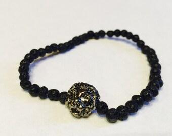 Lava Lion Bracelet, Lion Head Bracelet, Mens Lava Bracelet, Black Lava Bracelet, Black Lava Beads, Mens Bracelet, Mens Beaded Bracelet, Gift