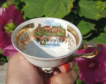 Heidelberg Waldershof Bavaria Germany Handavbeit 22 karat gold teacup and saucer