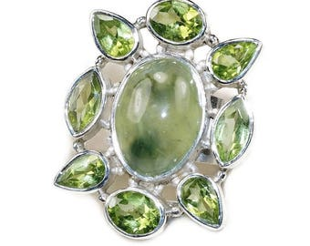 Green Peridot, Prehnite, Sterling Silver Ring Size 7