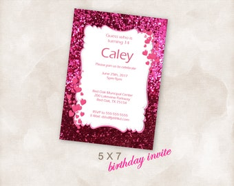 5X7 Birthday party invite Invitation Instant Download Just add your info and print!  pink hearts sparkle