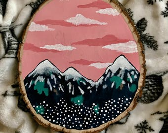 Natural Wood Slice Mountain Painting