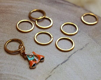 Vespa Stitch Markers for Knitting - Golden Closed Ring Markers - Knitting Notions - Girl on Scooter Charm