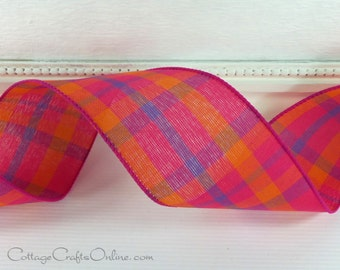 """Plaid Wired Ribbon, 2 1/2"""" Magenta Pink , Tangerine Orange and Purple - THREE YARDS - """"Color Chic"""", Spring, Summer, Wire Edged Ribbon"""