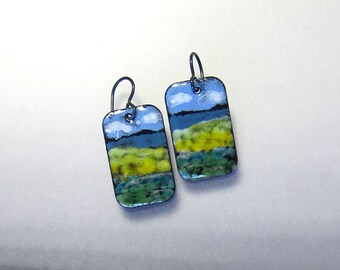 Hand-painted watercolor enamel earrings Landscape painting wearable art jewelry One of a kind handpainted niobium dangles Gift for her