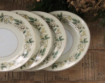 Mid Century Noritake Small Plates Set of 4 Bread and Butter Plates Cottage Style White Roses, Table Decor, Vintage China Plates