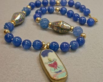 Antique Chinese Qing Pendant Blue Chalcedony Bead Knotted Necklace, Vintage Chinese RARE Faceted Bi Cone Blue Cloisonne Beads -GIFT WRAPPED