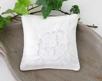 White Linen Lavender Sachet, Vintage Embroidered Cloth, Scented Drawer Sachets, Gift For Her