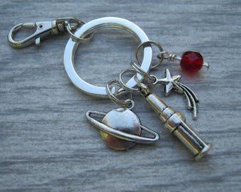 Astronomer Keychain, Personalized targazer Zipper Pull, Astronomy Accessory, Telescope Keychain Lanyard, Astronomer Gift, Shooting Star