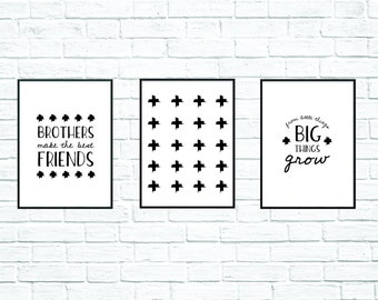 Wall Art, Printable Art, From Little Things Big Things Grow, Black and White Prints, Children's Prints