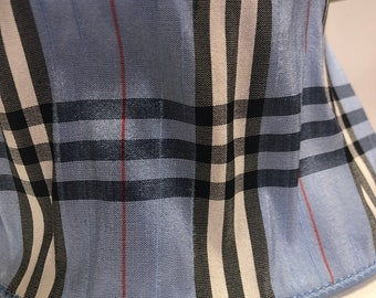 """4"""" Wired Baby Blue Ribbon - Burberry Plaid Print - 10 Yards"""