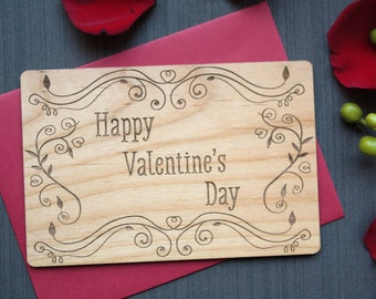 Happy Valentine's Day Card. Valentine Cards for Friends. Wood Card for Valentine's Day.