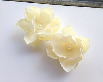Ivory Hair Flower Set, Bridal, Pearls, Champagne, Wedding, Small, Set of 2, Clip