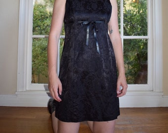 Black Satin Brocade Mini Dress