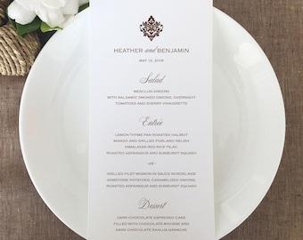 Formal Wedding Menu Cards, Traditional Wedding Menu Cards, Damask Wedding Menu Cards