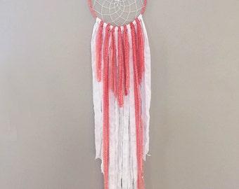 Sueño rosa Catcher - Coral atrapasueños - vivero sueño Catcher - Dream Catcher - cazador de sueños - Dreamcatcher bohemio - Boho Deco
