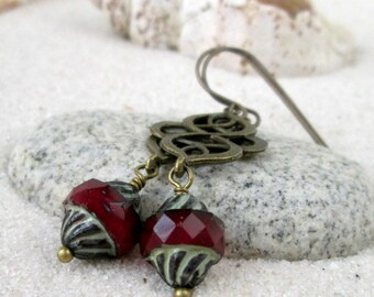 Hypoallergenic - Long Earrings - Pure Titanium - Bead Earrings - Dangle Earrings - Red Earrings - Titanium Earrings - Autumn Series16