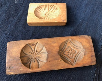 Antique Hand Carved Wooden Japanese Sweets Molds