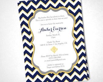 Chevron Stripes Baby Shower Invitation - Navy Yellow - DIY Printable