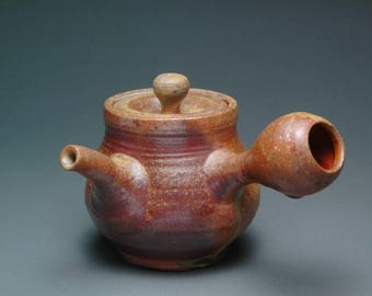 Unglazed Wood Fired Side Handle Kyusu Japanese Teapot with Beautiful Green Ash Drips and Built In Tea Leaf Strainer