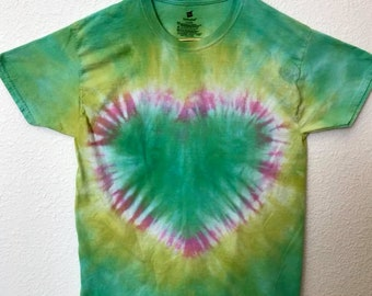 Large Green and Pink Heart Tie Dye T-Shirt