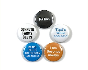 The Office Quotes Steve Carrell Fan Art 5 - 1 Inch Pinback Button Pin Badge Set