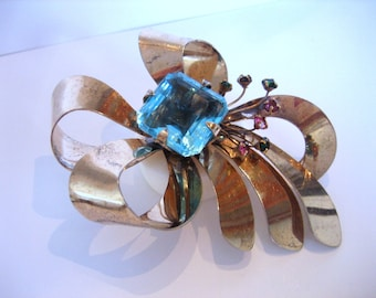 Sterling Brooch, 22 mm Aqua Cushion Cut Crystal Stone - colored rhinestone spray