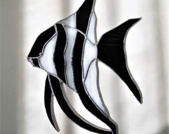 Angelfish in Black and White Stained Glass