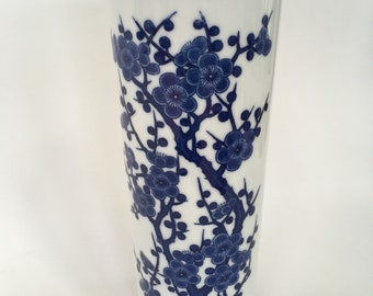 Vintage blue and white Prunus vase / Chinoiserie / Cherry Blossom
