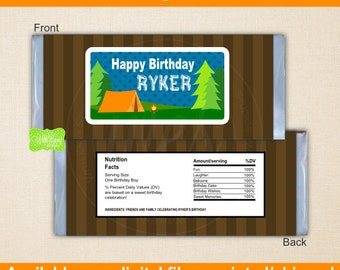 Camping Chocolate Bar Wrappers - Boy Camping Candy Bar Wrapper - Camping Candy Bar Wrapper - Digital & Printed