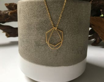 Gold simple geometric necklace // hexagon & teardrop // gifts for her // layered necklace // delicate jewelry // minimalist necklace