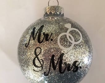 Mr. & Mrs. Wedding Glitter Ornament