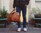Duffle Bag in Cognac, Leather Holdall, Large Luggage, Carry All, Oversized Leather Luggage, Carry on Baggage, Vegetable Tanned, Full Grain