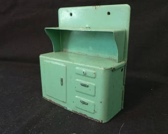 Vintage 1930's Dollhouse Miniature Heavy Steel Enamel Mint Green Kitchen Hutch
