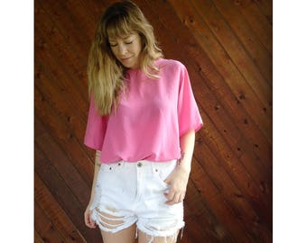 Hot Pink Silk s/s Oversized Blouse Tee - Vintage 90s - L