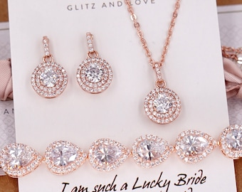 Rose Gold Wedding Bridesmaid Gift Bridal Earrings Necklace Bracelet Jewelry Set Clear White Cubic Zirconia Round Ear Studs E328 B85 N231