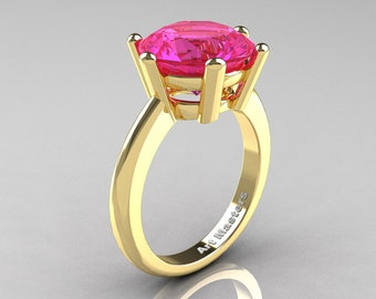 Classic Russian Bridal 14K Yellow Gold 5.0 Carat Pink Sapphire Crown Solitaire Ring RR133-14KYGPS