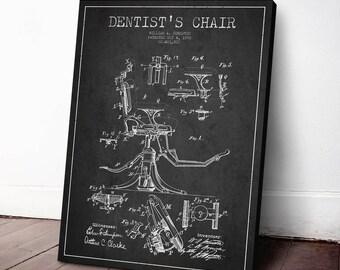 1892 Dentist Chair Canvas Art Print, Dentist Patent, Wall Art, Home Decor, Gift Idea, ME28C