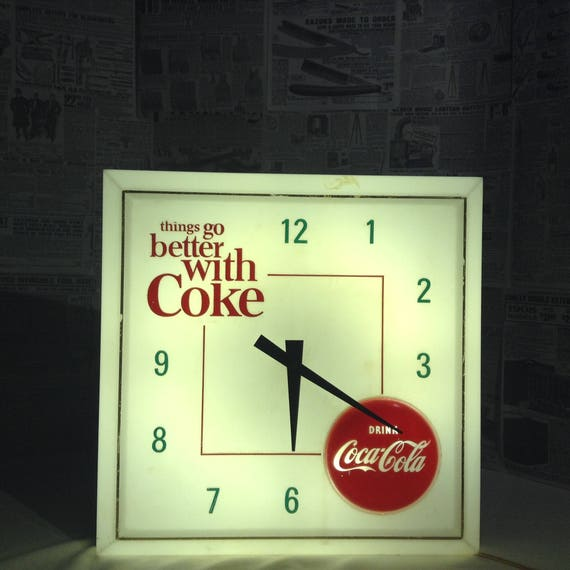 Vintage 1960s coca cola light up wall clock aloadofball Image collections