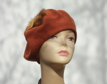 Orange wool beret Felted french womens  beret felt winter hats wool beret  french hat warm cozy beret Womens felt beret French style gift