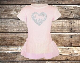 Sparkle Heart with Pony - Light Pink Tutu Tunic for Toddler Girls