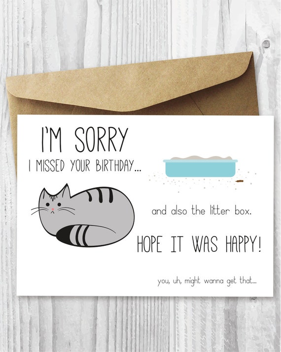 Belated birthday card funny belated birthday digital card belated birthday card funny belated birthday digital card funny cat printable birthday card late birthday card from cat instant download bookmarktalkfo Images