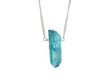 Blauer Kristall Punkt Anhänger Halskette, einzelne Stein Anhänger