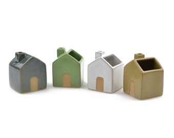 Tiny house planter - ceramic planter, succulent planter- made in Brazil