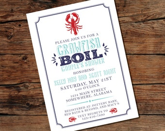 PRINTABLE Crawfish Boil Invitation - Low Country Boil - Couples Shower - Baby Shower - Digital File - Print-at-Home