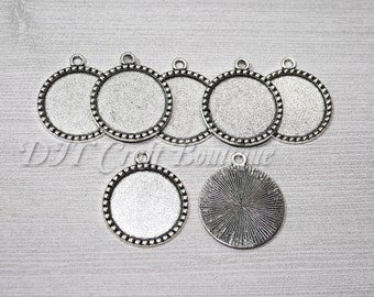 WHOLESALE / BULK LOT / Antique Silver Cabochon Bezels 25mm 1 Inch Trays / Jewelry, Crafts / Choose Quantity /Make Your Own / Do It Yourself
