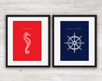 Red and Navy Blue Nautical Art Set Printables - 5x7""
