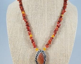 fine silver & agate - necklace