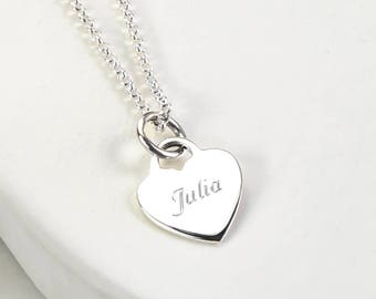 Sterling Silver Engravable Heart Necklace